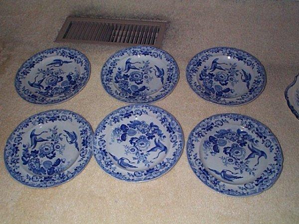 811: Lot of 6 signed stone china #9 blue & white salad