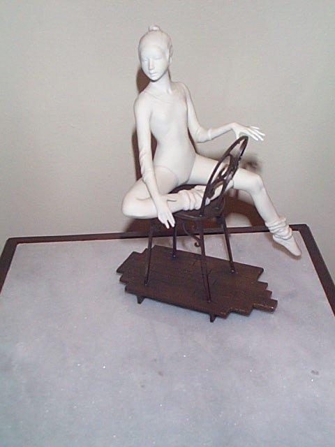15: Boehm Figurine, Porcelain Ballerina sitting on a br