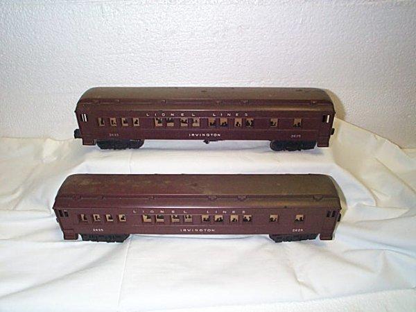 503: Lot of 2 Lionel O27 gauge passenger cars #2625 Irv