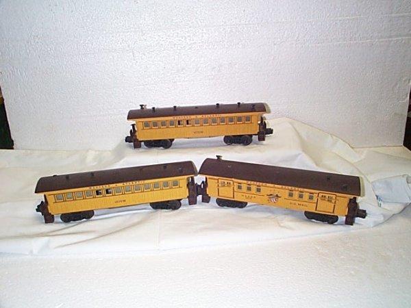 506: Lot of 3 Lionel O27 passenger cars, Western & Atla