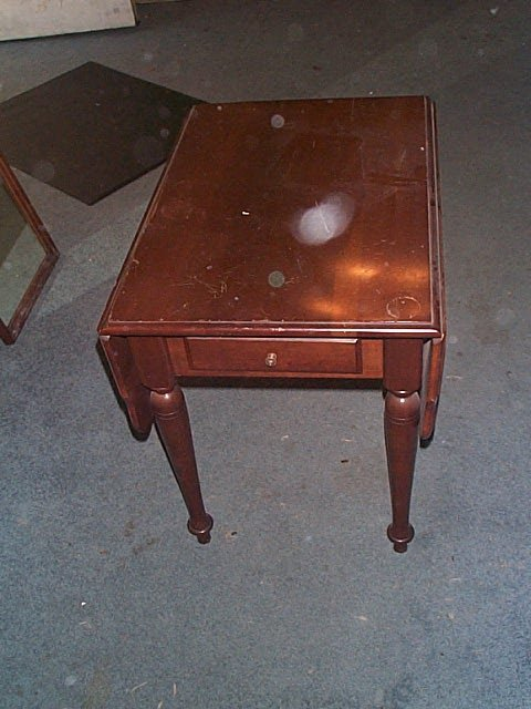 957: pair of cherry drop-leaf end tables. Local deliver