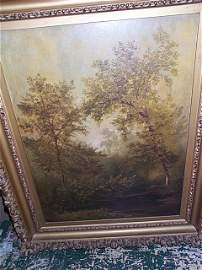 1087: nice oil on board landscape painting, 19th Centur