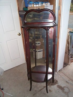 Victorian Open Etagere With Mirrored Top Backsplas