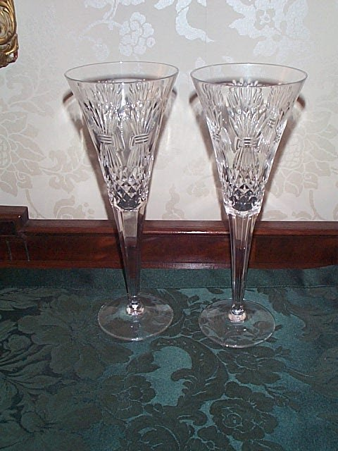 701: Pair of Waterford Champagne Flutes - Millennium Ed