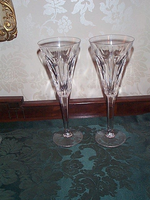 702: Pair of Waterford Champagne Flutes - Millennium Ed