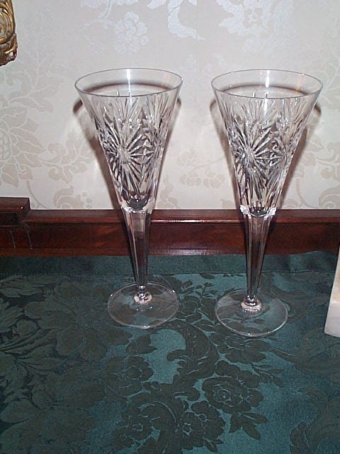 703: Pair of Waterford Champagne Flutes - Millennium Ed