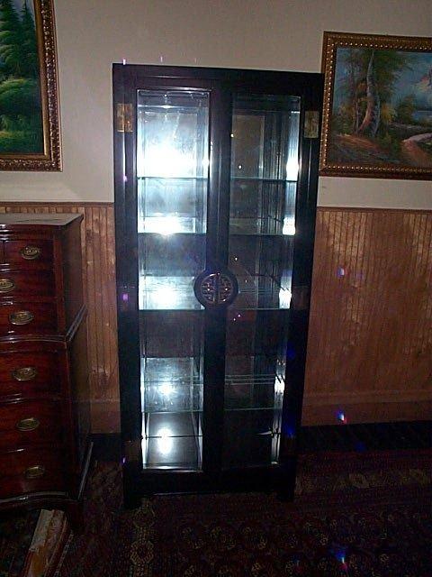678: Black lacquer oriental style glass curior w/mirror