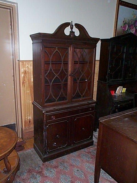 689: Mahogany china closet.  Local delivery available w