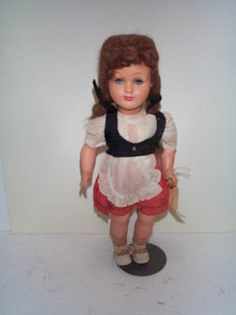 "613: 18"" peasant girl celluloid body with hard plastic"