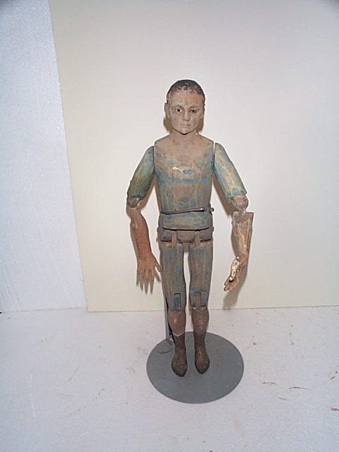 "618: Hand carved wooden man doll.  12"" tall, all jointe"