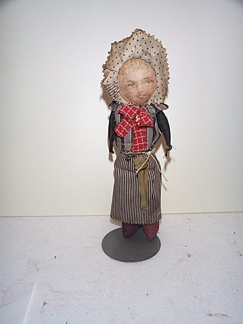 "620: 9"" original rag doll peasant girl with painted fea"
