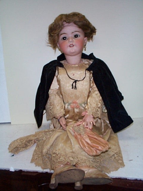 "732: Nice 39"", over-sized, German, bisque head doll.  M"