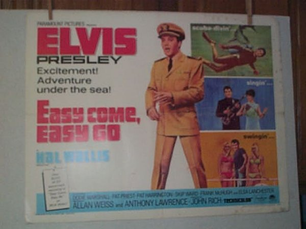 "7: Original movie poster. ELVIS PRESLEY. ""EASY COME, EA"