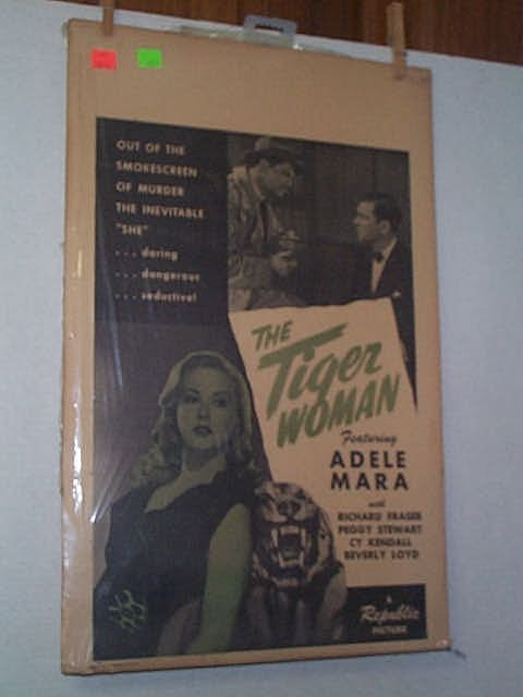 "20: Original movie poster. ""THE TIGER WOMAN."" Insert."