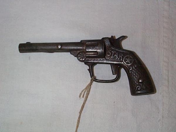 2: 1910 Stevens Star cap gun, measures 6 in., in good c