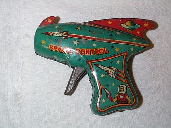 15: Space Control Tin Litho space gun, measures 3 5/8 i