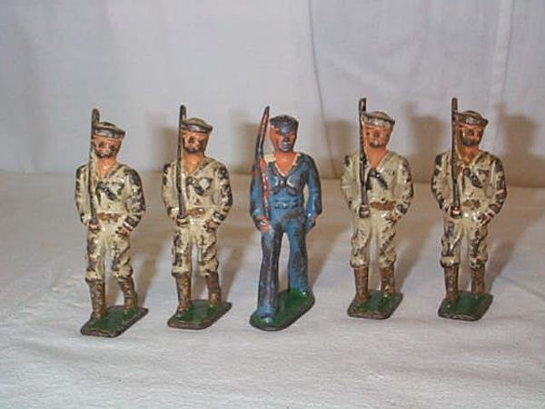 19: Lot of (5) Lead Toy Soldiers, measures 3 1/4 in. ta