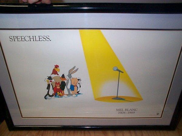 "3: Warner Bros framed lithograph entitled ""Speechless"""