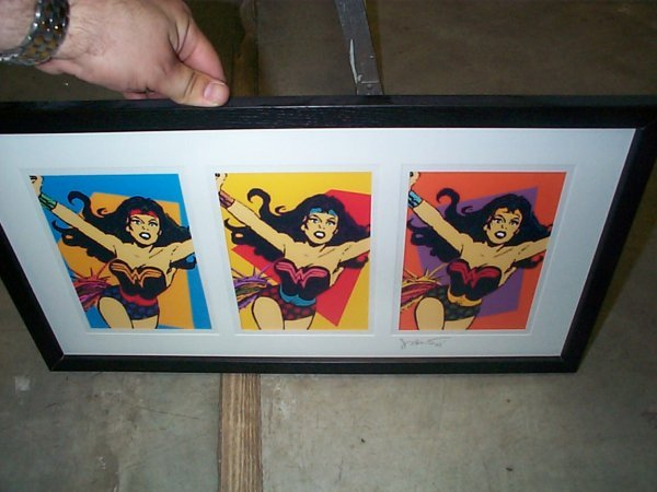 11: Framed pop art Wonder Woman by John Bao 2003.  Meas