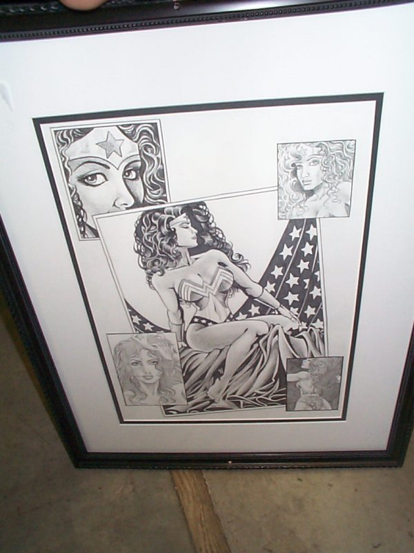 12: Original pencil drawing of Wonder Woman.  Signed lo