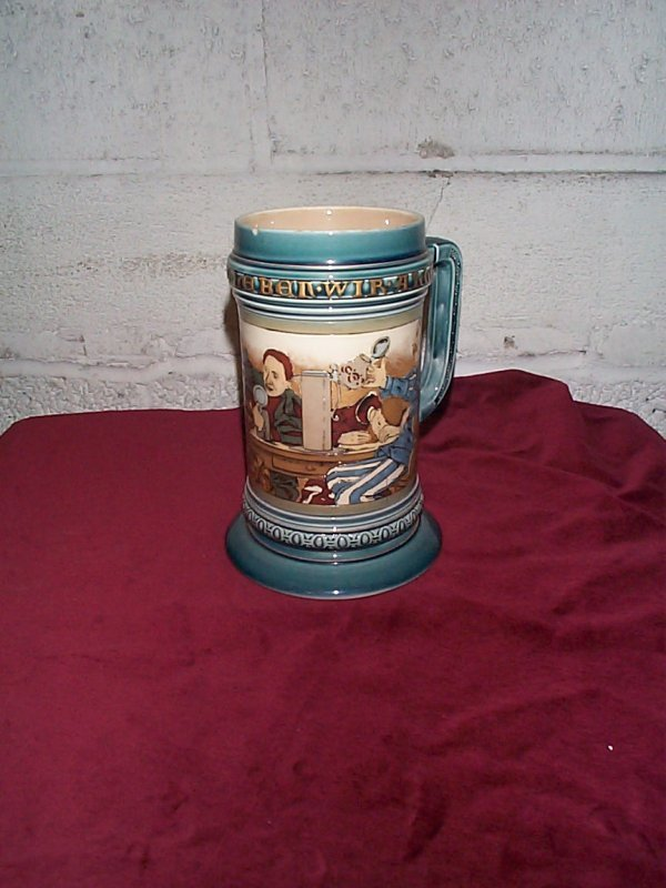 371: signed Mettlach etched German stein #2044 measures