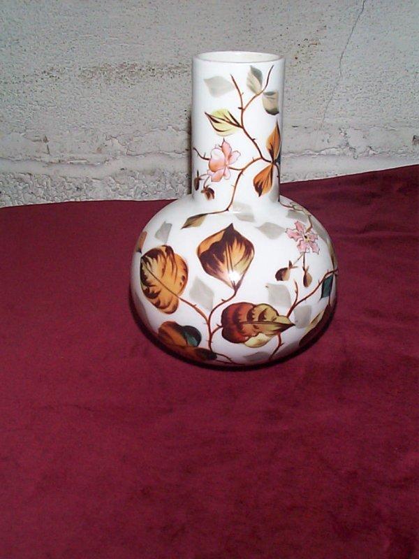 387: Victorian hand-painted bud vase signed Deyron #381