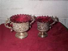 428 Victorian silverplate creamer and sugar with ruby