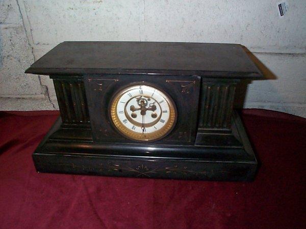 523: Eastlake Victorian marble mantle clock.  Measures