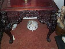 673: 19th. C. heavily carved oriental rosewood writing