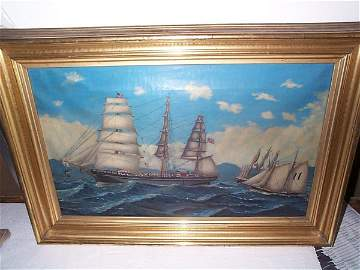 761A: 19th Century oil on canvas depicting a US Ship Id