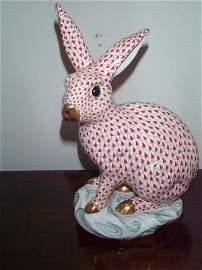 215: Signed Herend Fishnet oversized bunny rabbit.  Mea