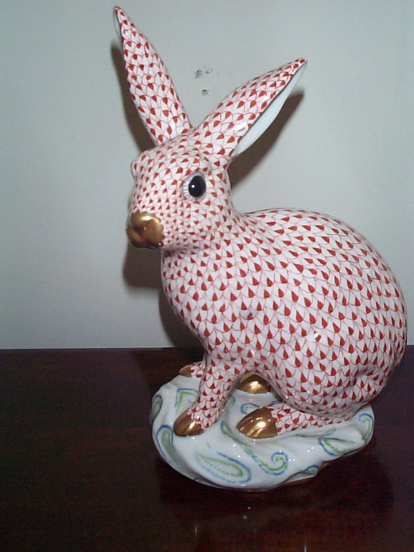 215: Signed Herend Fishnet oversized bunny rabbit.  Mea