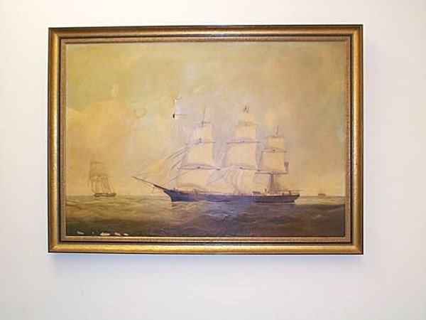 13A: 19C. Oil on canvas depicting a maritime scene, uns