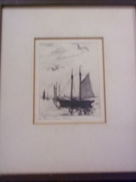15: Engraving signed E.W.L. entitled In Provincetown Ha