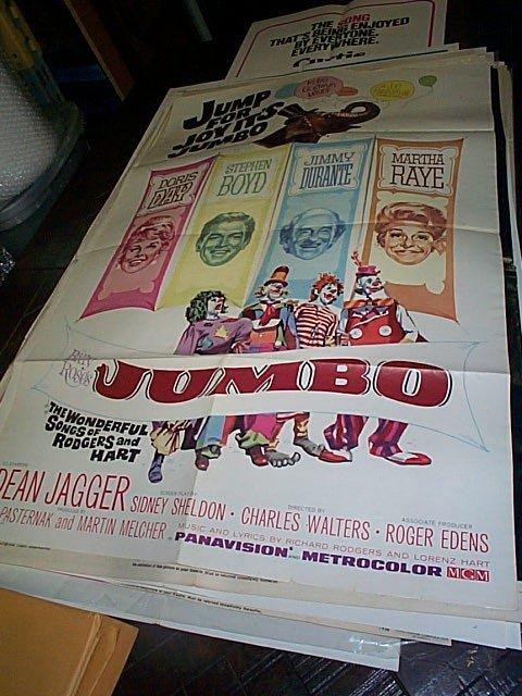 606: Original movie poster. Jumbo  1962   Measures 41 i