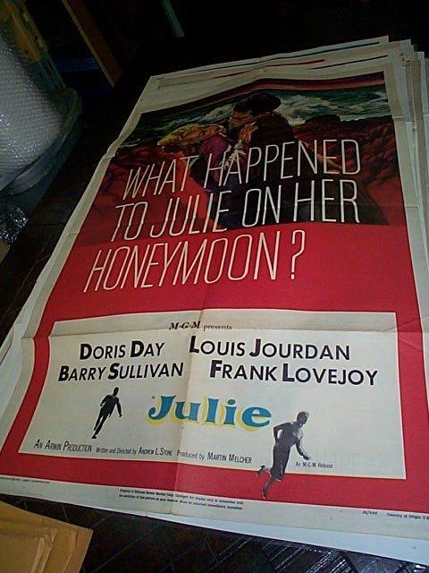 608: Original movie poster.  Julie  1956   Measures 41