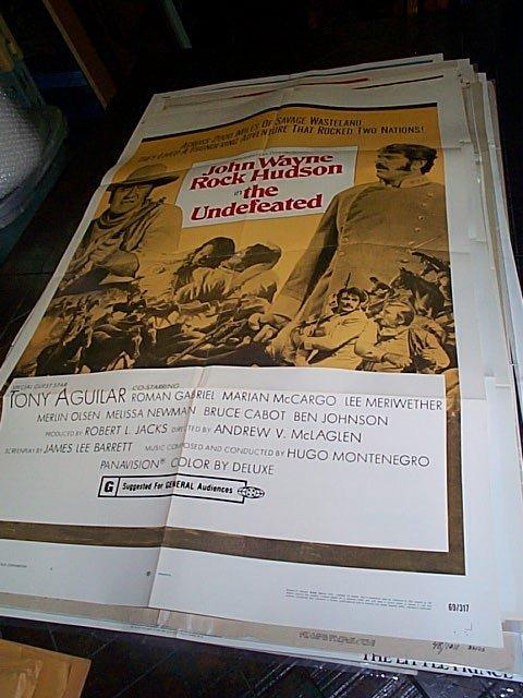 610: Original movie poster.  John Wayne in The Undefeat