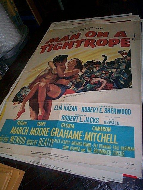 619: Original movie poster.  Man on Tightrope  1958  Ha