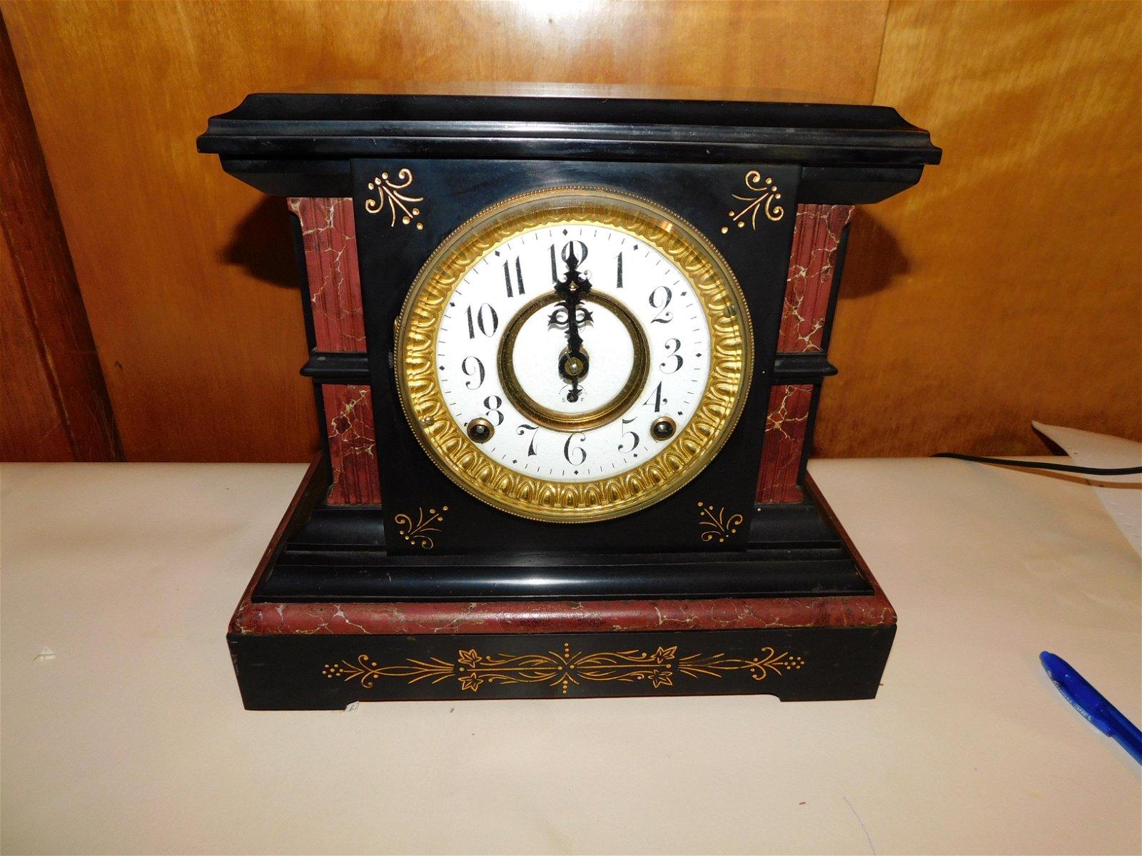 Eastlake Victorian Marble Mantle Clock