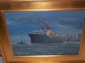 McLeese Oil On Board  Ocean Steam Liner Boat In Ne