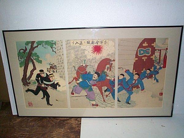 230: 19th century Japanese Triptych  Polychrome woodblo