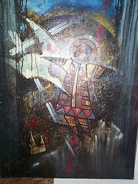 232: Malktin, Russian abstract oil on canvas with relig