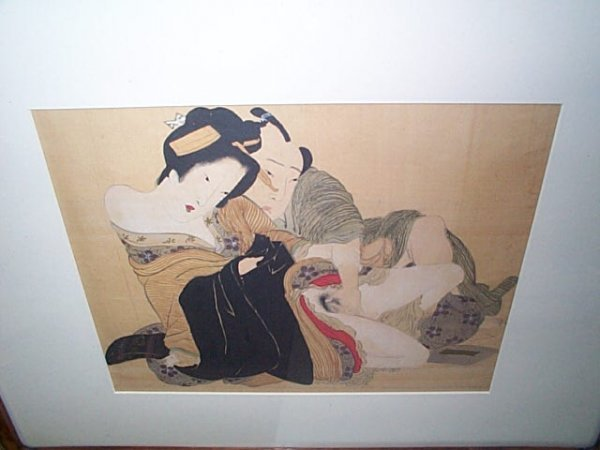 233: 19th century Japanese erotica watercolor  Measures