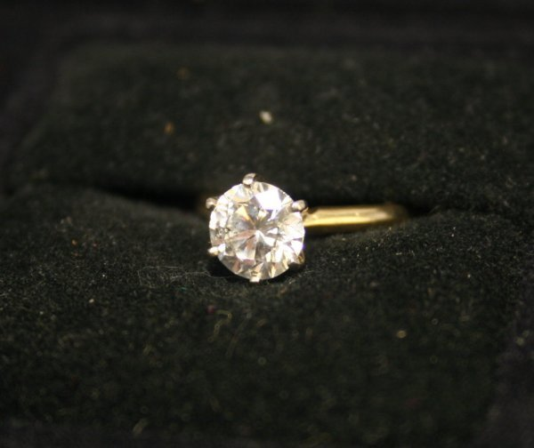 237B: 14k YG Solitaire Engagement Ring; 1D = 1.53ct, H/