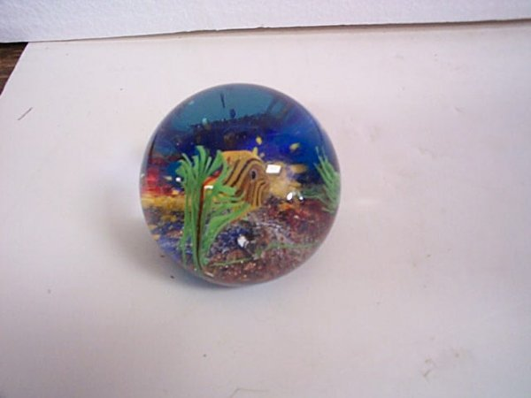 239: Signed Murano Art Glass Paperweight depicting a fi