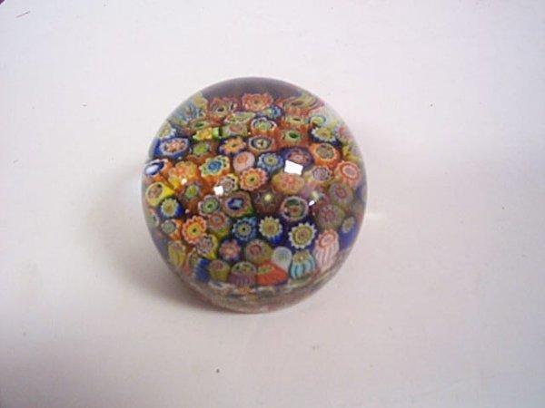 "242: Millefiori Art glass paperweight  Measures 3.5"" ta"