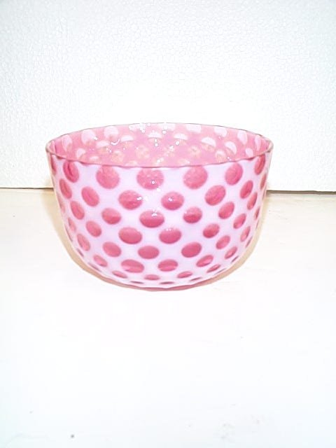 244: Victorian White cut to Cranberry glass bowl in the