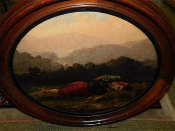 19th c Oil on Canvas Zouave Soldier
