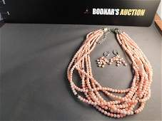 Jay King Pink Coral Necklace & Earrings