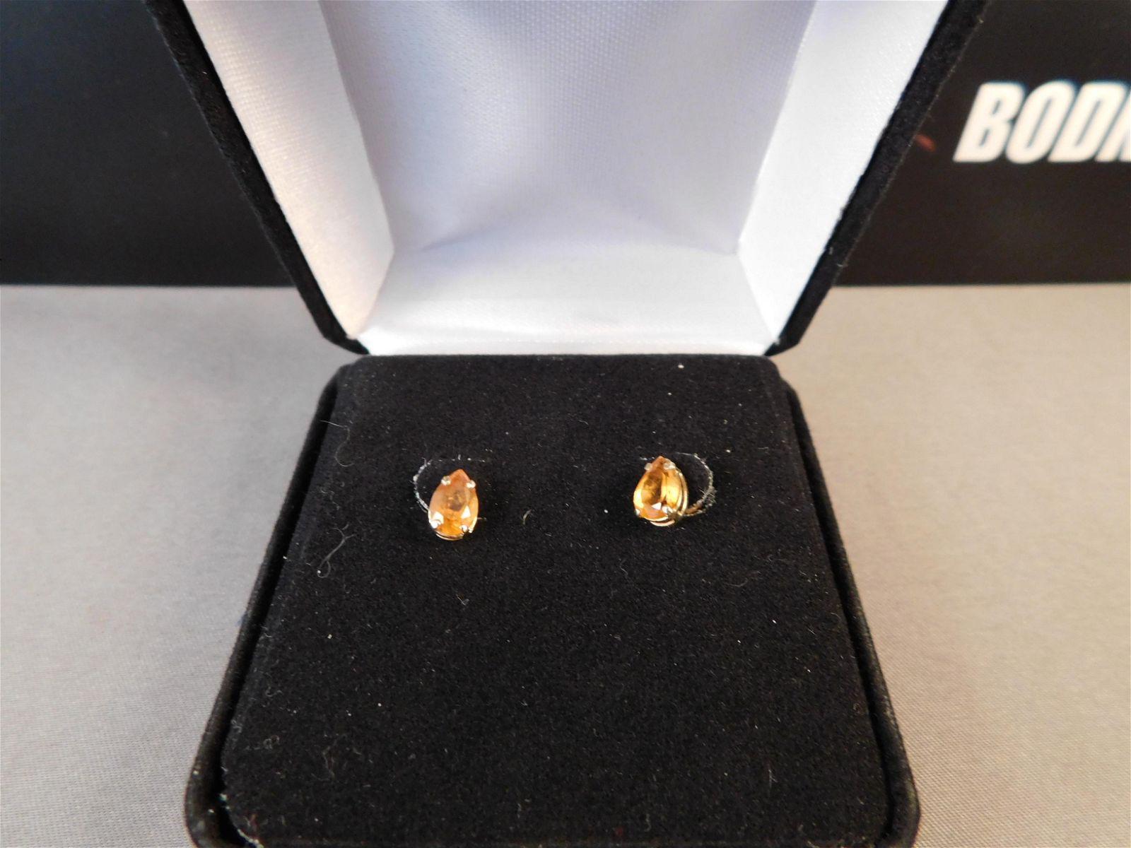 14K Yellow Gold Amber Stone Earrings